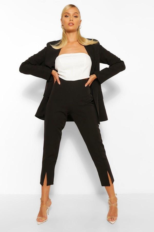 boohoo Split Hem Tailored Skinny Trousers