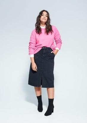 MANGO Violeta BY Midi denim skirt black denim - S - Plus sizes
