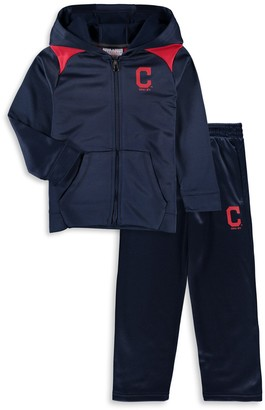 Majestic Toddler Navy Cleveland Indians Play Action Full-Zip Hoodie & Pants Set