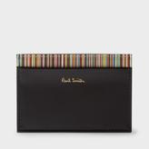 Paul Smith Men's Black Leather Credit Card Holder With Signature Stripe Trim