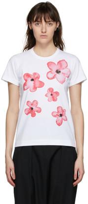 Comme des Garcons White Floral Print T-Shirt