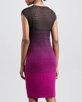 Missoni Ombre Knit Cap-Sleeve Sheath Dress, Brown/Pink