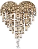Saint Laurent Heart Crystal Fringe Pin