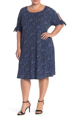 Como Vintage Leopard Print Cold Shoulder Shift Dress (Plus Size)