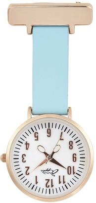Bermuda Watch Company Annie Apple Rose Gold Pearl Blue Leather Nurse Fob Watch
