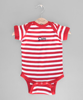 Princess Linens Red & White Stripe Personalized Bodysuit - Infant