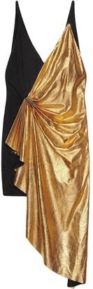 Gucci Metallic leather asymmetric mini dress
