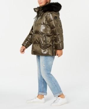 DKNY Plus Size High-Shine Faux-Fur-Trim Hooded Puffer Coat