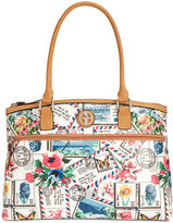 Giani Bernini Postcard Print Canvas Satchel, Only at Macy's
