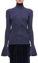 Carven Metallic Wool-Blend Sweater, Navy