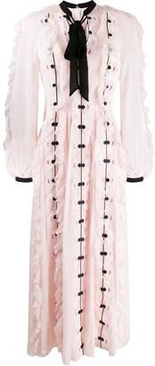 Temperley London tie-neck appliqué flower dress
