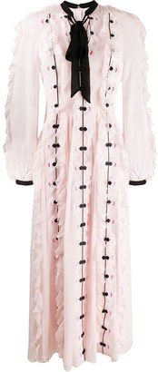 Temperley London Tie-Neck Applique Flower Dress