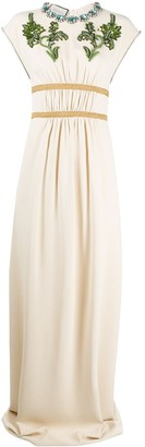 Gucci Crystal Embroidered Jersey Gown