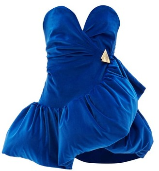 ATTICO The Ruffled Velvet Mini Dress - Womens - Blue