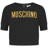 Moschino MoschinoMoschino Girls Black Embroidered Logo Cropped Top
