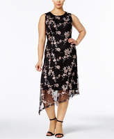 Alfani Plus Size Embroidered Asymmetrical Dress, Created for Macy's