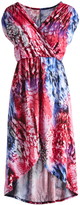 Glam Blue & Red Abstract High-Low Surplice Dress