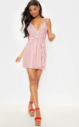 PrettyLittleThing Red Stripe Print Wrap Strappy Shift Dress
