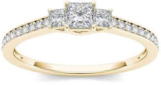 MODERN BRIDE 1/2 CT. T.W. Diamond 14K Yellow Gold 3-Stone Engagement Ring
