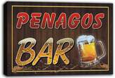AdvPro Canvas scw3-045202 PENAGOS Name Home Bar Pub Beer Mugs Stretched Canvas Print Sign