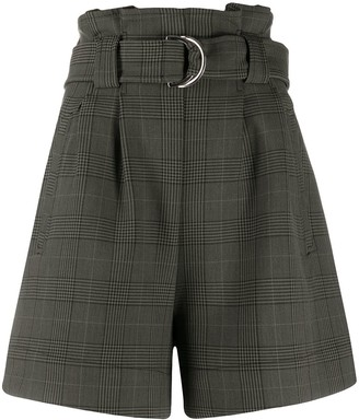 Ganni Check Belted Shorts