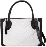 Foley + Corinna Frankie Quilted-Chevron Leather Satchel, White