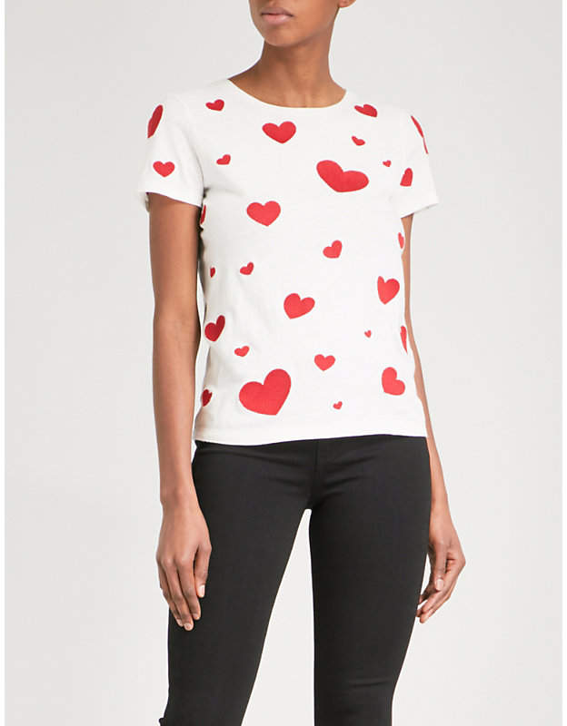 Alice + Olivia Alice & Olivia Heart-embroidered cotton and linen T-shirt