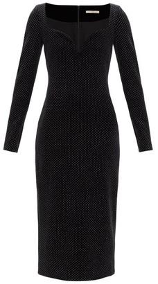 Christopher Kane Sweetheart-neckline Glittered Velvet Dress - Black