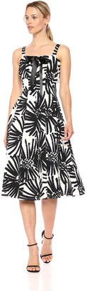 Taylor Dresses Women's Printed Lace Up Bodice Sleeveless Dress