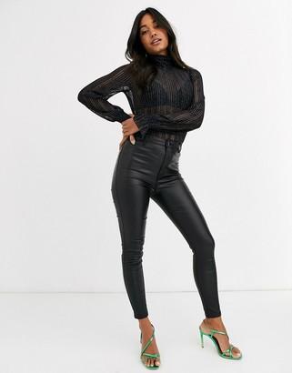 Vero Moda sheer high neck body with cuff detail in metallic black