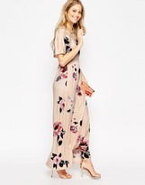 Asos Angel Sleeve Maxi Dress With Lace Inserts In Floral Print