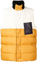 Marni colour blocked padded gilet - men - Cotton/Calf Leather/Polyamide/Duck Feathers - 50
