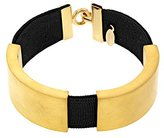 MARION VIDAL Curved Black Ribbon with Golden Brass Bracelet