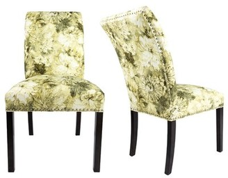 Darby Home Co Francesca Cotton Upholstered Curve Back Parsons Chair Upholstery Color: White/Cream/Green