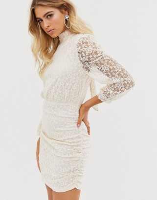 In The Style Brocade Detail Cream Mini Dress