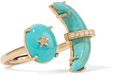 Andrea Fohrman Crescent Moon 18-karat Gold, Turquoise And Diamond Ring