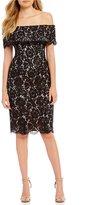 Eliza J Off-The-Shoulder Lace Ruffle Sheath Dress