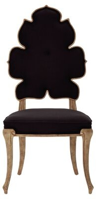 Global Views Wiggle Upholstered Queen Anne Back Side Chair Upholstery Color: Black