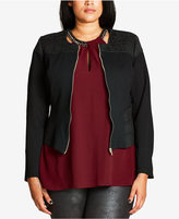City Chic Trendy Plus Size Jacquard-Trim Jacket