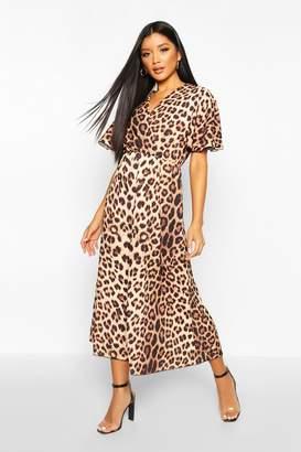 boohoo Woven Leopard Wrap Flutter Sleeve Maxi