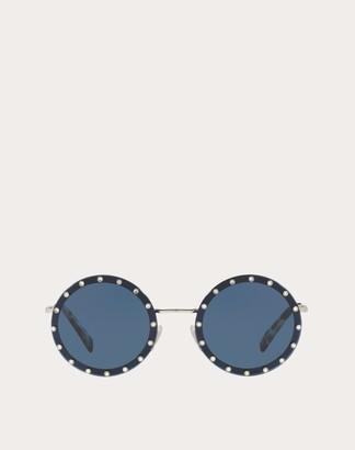 Valentino Crystal Studded Round Frame Metal Sunglasses Women Dark Blue Metal, Plastic OneSize