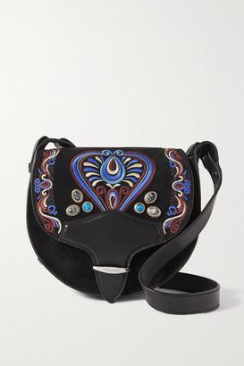 Isabel Marant Botsy Leather-trimmed Embellished Embroidered Suede Shoulder Bag - Black