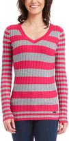 Fuchsia & Heather Gray Stripe V-Neck Pullover