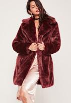 Missguided Oversized Collar Fur Coat Burgundy