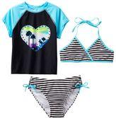 Girls 7-16 SO® Palm Tree Heart 3-pc. Rashguard, Halter Bikini Top & Bottoms Swimsuit Set