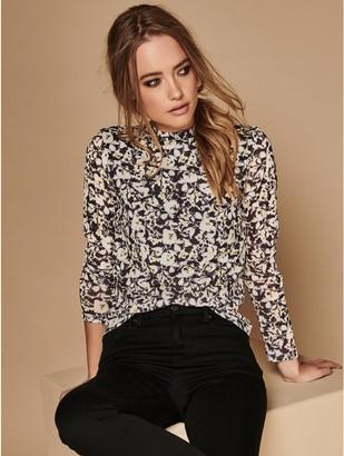 M&Co Sonder Studio floral mesh top