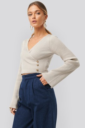NA-KD Button Detail Bell Sleeve Sweater