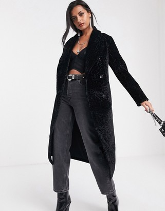Religion longline faux fur belted coat in jaguar