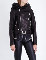 Unravel Plus Size Hooded leather biker jacket