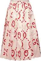 Gucci Pleated Printed Duchesse Silk-satin Midi Skirt - Beige